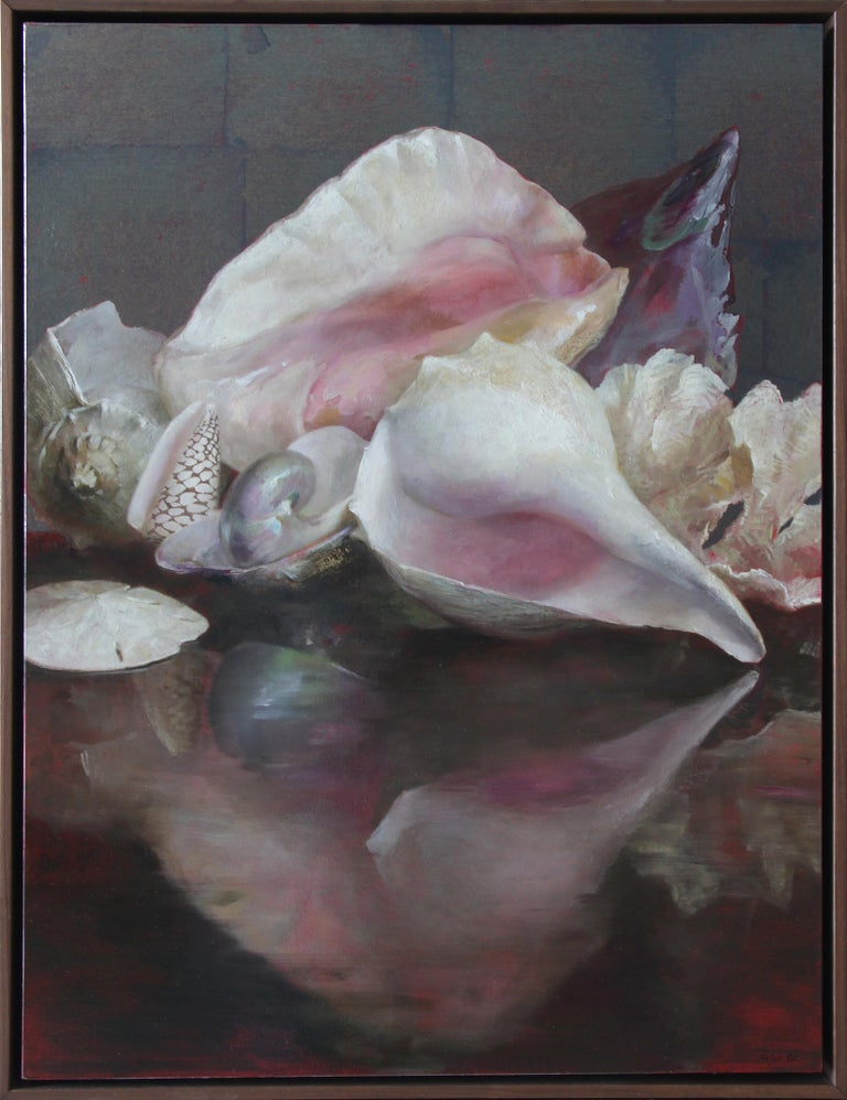 Shells with Reflections, Original Oil Painting, Oil and Silver Leaf on Panel - Black Animal Painting by Helen Oh