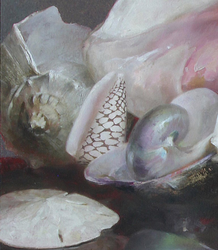 Shells with Reflections, Original Oil Painting, Oil and Silver Leaf on Panel For Sale 2