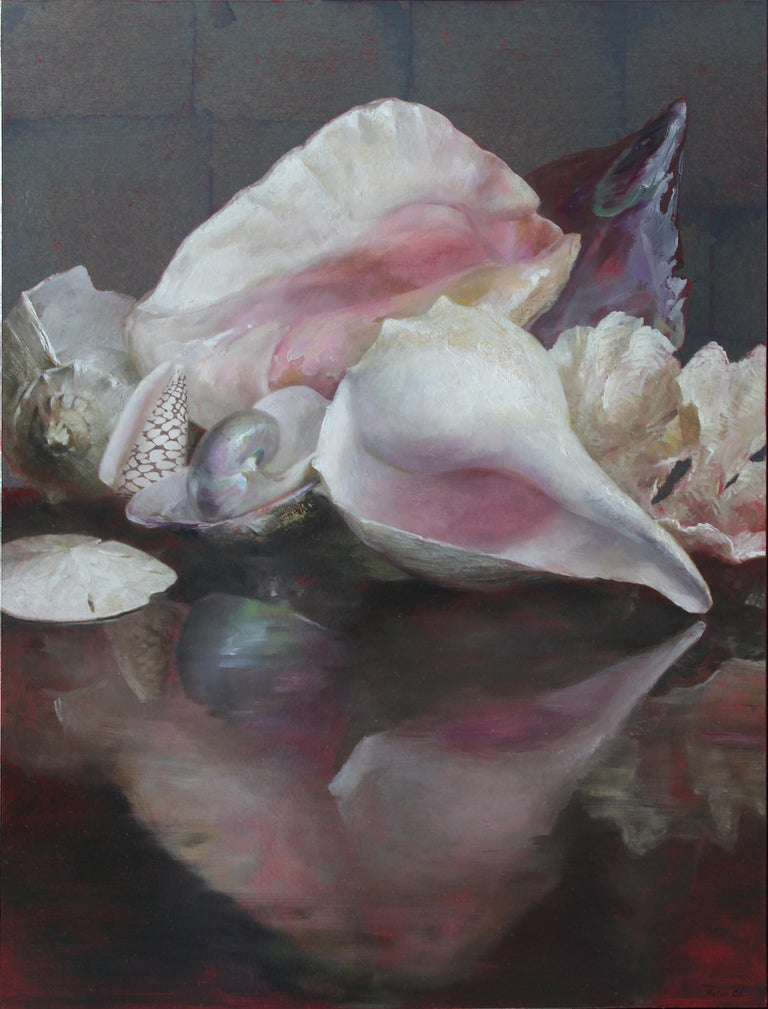 Helen Oh Animal Painting - Shells with Reflections, Original Oil Painting, Oil and Silver Leaf on Panel