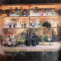 Gin and Tonic, Lone Female Figure Tending Bar, Original Acrylic Painting