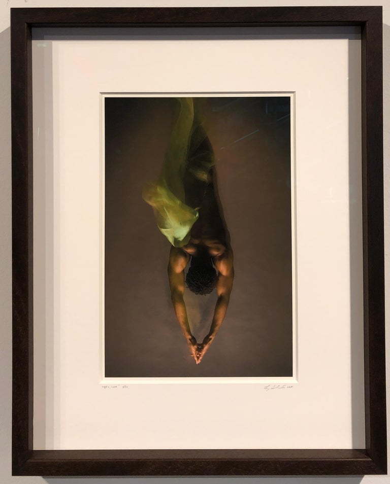 JP1, 2009, Male Nude Figure with Fabric, Color Photograph, Matted and Framed For Sale 1