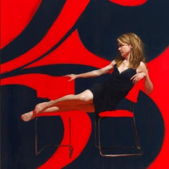 Fast Five - Reclining Female Figure Bright Red Background in Front of Large #5