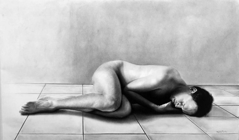 This male nude charcoal drawing is beautifully rendered in splendid detail, down to the individual hairs on his legs.  The viewer begs the question of why the subject is here.  We are not given answers yet perhaps something lies just beyond the edge