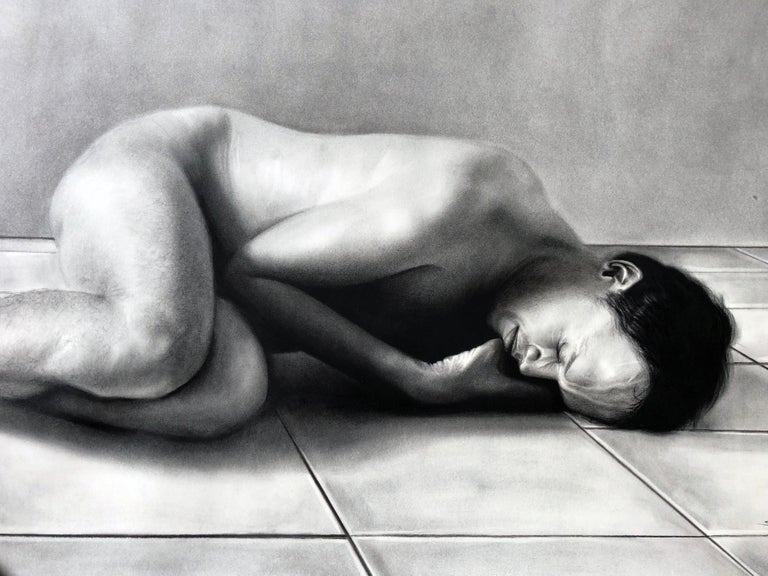 Sleeping Man, Nude Male Figure Curled on the Floor, Charcoal Drawing For Sale 1