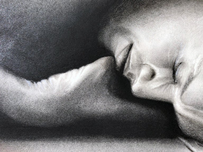 Sleeping Man, Nude Male Figure Curled on the Floor, Charcoal Drawing For Sale 4