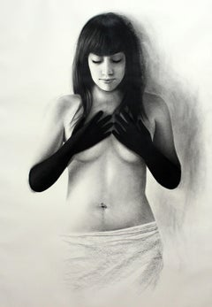 Woman with Black Gloves, Nude Female with Hands on Her Breasts, Charcoal Drawing