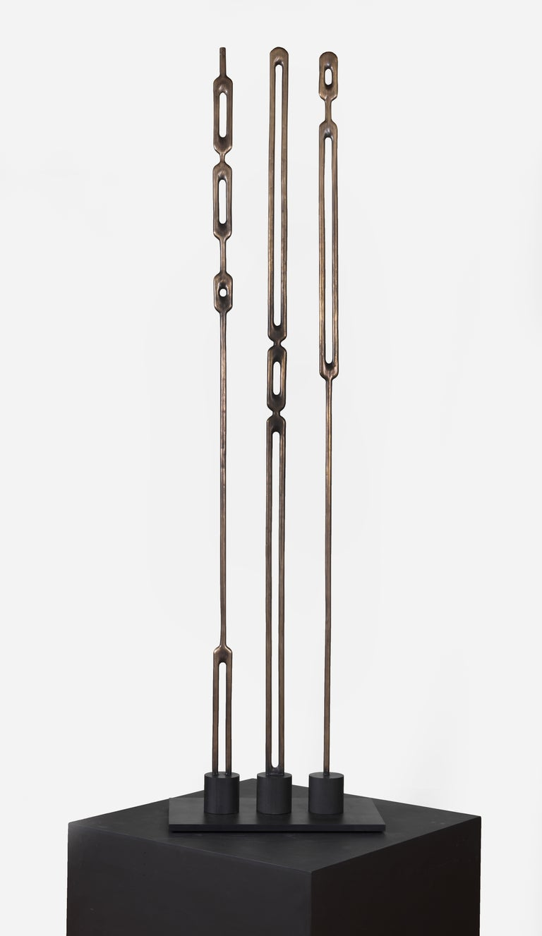 Alone, Bronze Totem Sculpture, Geometric Modern Abstract Forms Cast from Wood - Gold Still-Life Sculpture by Steve Turner