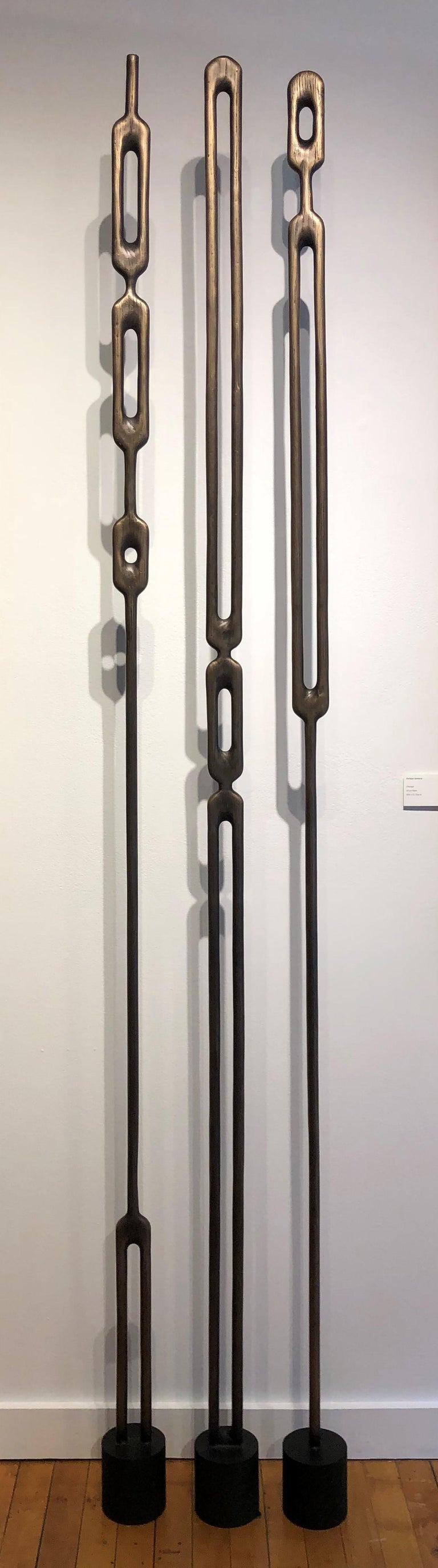 Alone, Bronze Totem Sculpture, Geometric Modern Abstract Forms Cast from Wood For Sale 1