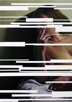 The Skinning Erotica, Female Nude Obscured by White Lines, Oil on Canvas