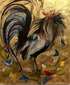 Gallo Dorado, Rooster with Butterflies on a Gold Leaf Background, Oil on Canvas