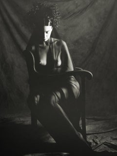 Somber Woman, Nude Female, Seated and Veiled, Black and White Photograph