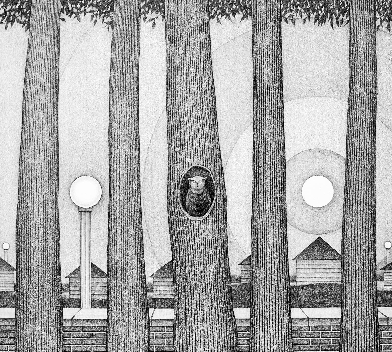 Rising I, Surrealist Landscape w/ Row of Trees & Owl, Graphite on Archival Paper