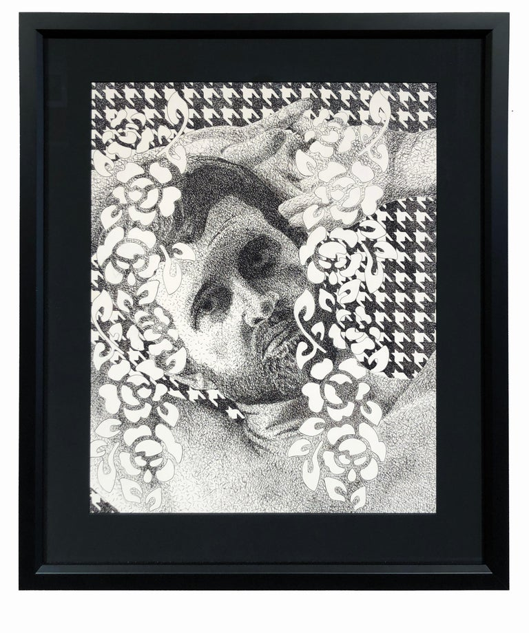 Sam, Reclining Male Nude with Hounds Tooth Background and Floral Foreground - Contemporary Art by Brian Driscoll