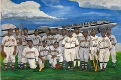 Satchel Page's All Stars from 1946 Baseball Team, Original Watercolor on Paper