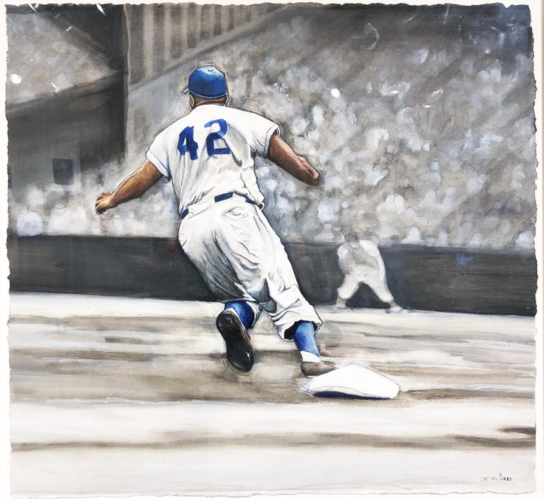 Margie Lawrence Figurative Painting - Jackie Robinson Rounding Second, Brooklyn Dodger's Famous Second Baseman, No. 42
