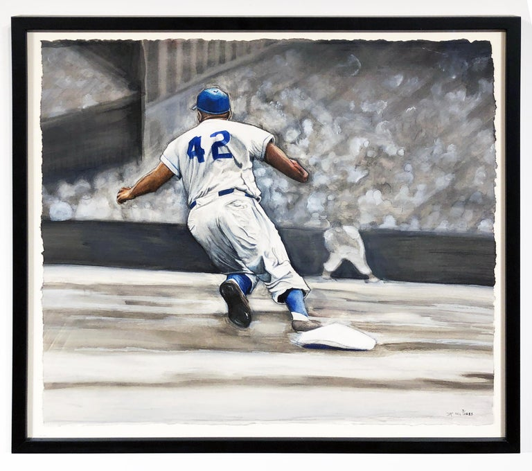 Jackie Robinson Rounding Second, Brooklyn Dodger's Famous Second Baseman, No. 42 - Painting by Margie Lawrence