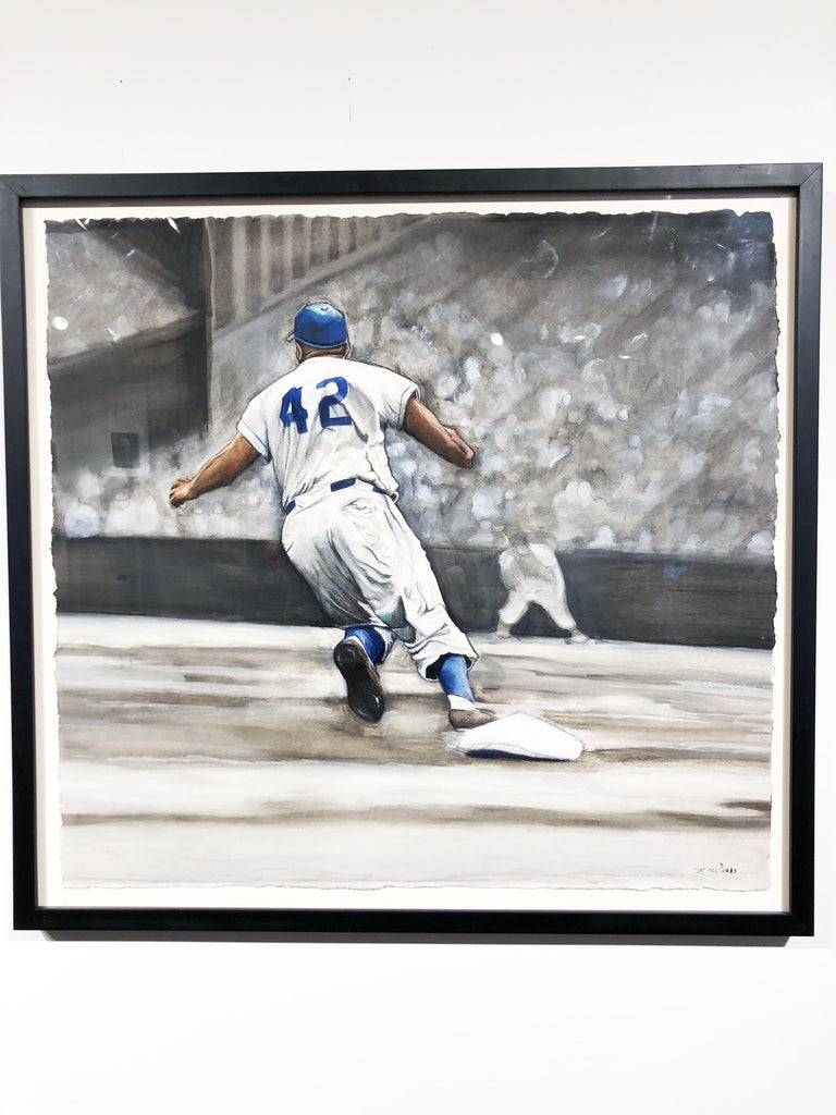 Jackie Robinson Rounding Second, Brooklyn Dodger's Famous Second Baseman, No. 42 - Contemporary Painting by Margie Lawrence