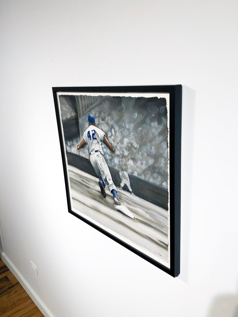 Jackie Robinson Rounding Second, Brooklyn Dodger's Famous Second Baseman, No. 42 - Gray Figurative Painting by Margie Lawrence