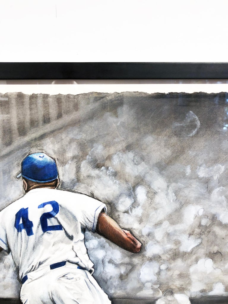 Jackie Robinson Rounding Second, Brooklyn Dodger's Famous Second Baseman, No. 42 For Sale 4