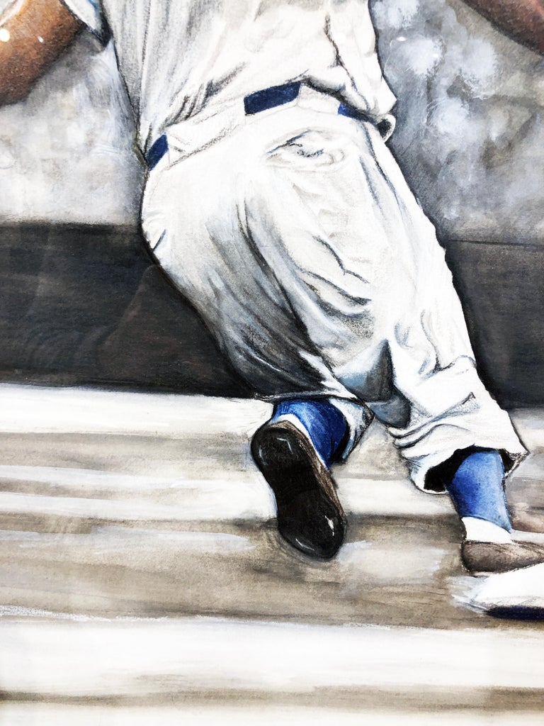 Jackie Robinson Rounding Second, Brooklyn Dodger's Famous Second Baseman, No. 42 For Sale 9