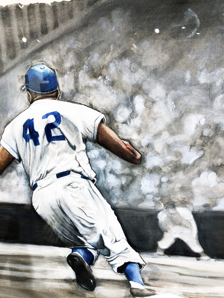Jackie Robinson Rounding Second, Brooklyn Dodger's Famous Second Baseman, No. 42 For Sale 10