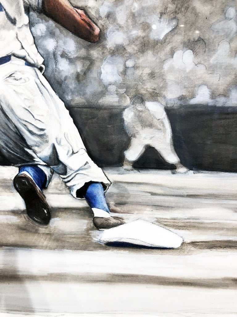 Jackie Robinson Rounding Second, Brooklyn Dodger's Famous Second Baseman, No. 42 For Sale 11