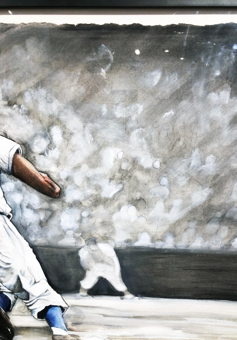 Jackie Robinson Rounding Second, Brooklyn Dodger's Famous Second Baseman, No. 42 For Sale 14