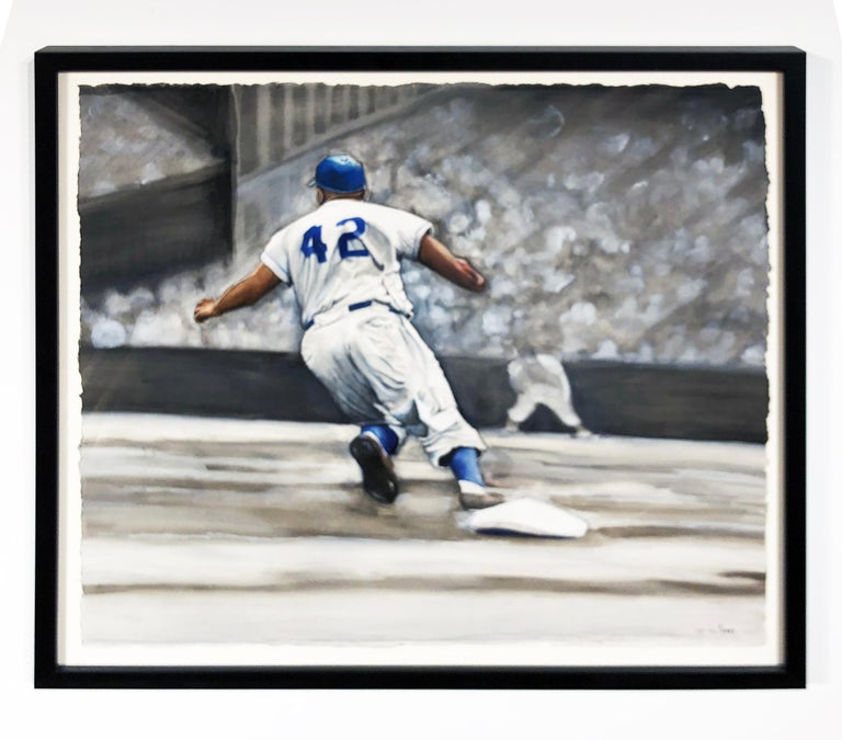 Jackie Robinson Rounding Second, Brooklyn Dodger's Famous Second Baseman, No. 42 For Sale 15