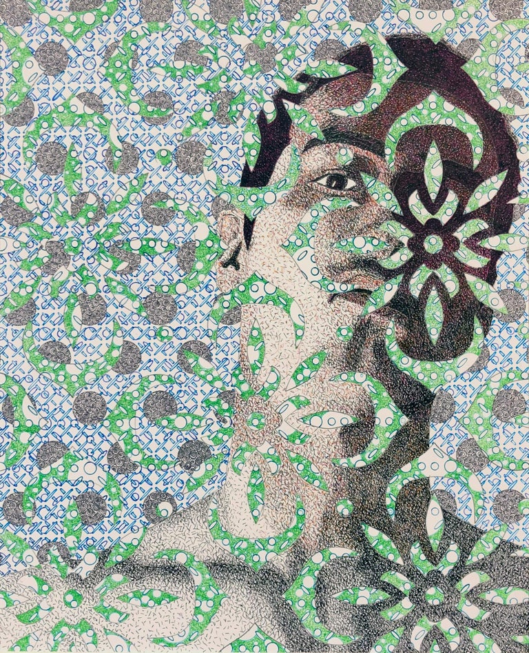 Brian Driscoll Figurative Art - Matt, Male Portrait with Geometric Background and Floral Foreground, Ink Drawing
