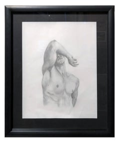 The Body is a Shield - Muscular Male Nude, Graphite Drawing on Paper, Framed