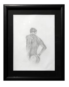 The Body is a Beacon - Muscular Male Nude, Graphite Drawing on Paper, Framed