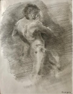 Dancer II, Male Nude in Dance Pose, Graphite Drawing on Paper, Matted