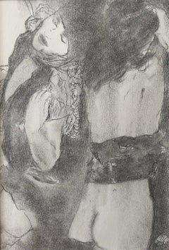 Metamorphosis, Two Female Nudes, Graphite Drawing on Paper, Matted