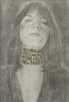 Erina, Female with Gold Choker Necklace, Graphite Drawing on Paper, Matted