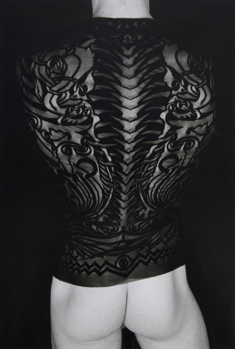Doug Birkenheuer Black and White Photograph - Untitled 1997 - Erotic Nude Photo with Figure in Jean Paul Gauthier Tattoo Shirt