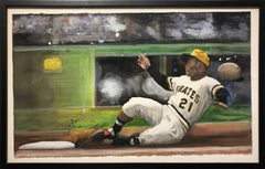 Roberto Clemente - Original Watercolor Baseball Painting on Paper