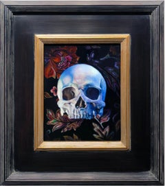 Vanitas II - Original Oil Painting of a Human Skull in 17th Century Dutch Style