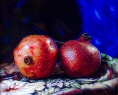 Pomegranates - Still Life, Original Oil Painting on Aluminium Panel, Dutch Style