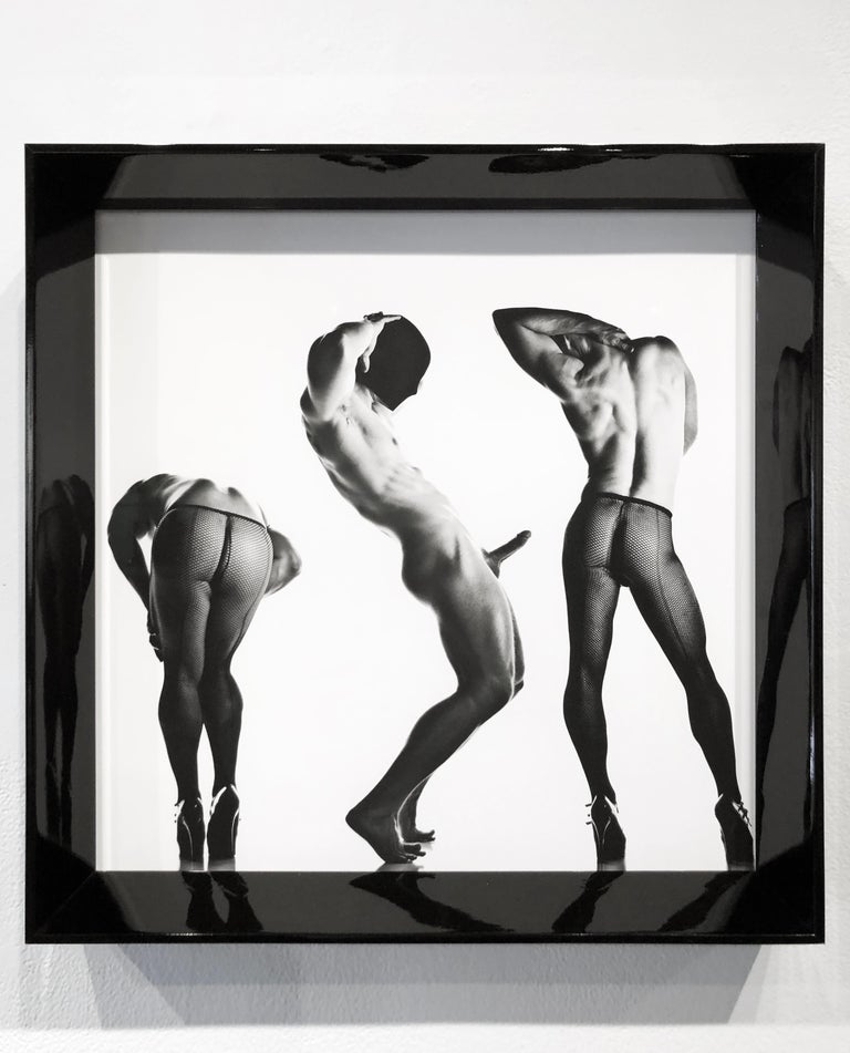 Sex 3 - Erotic Male Photo, Fishnet Stockings and High Heals, Matted and Framed - Photograph by Doug Birkenheuer