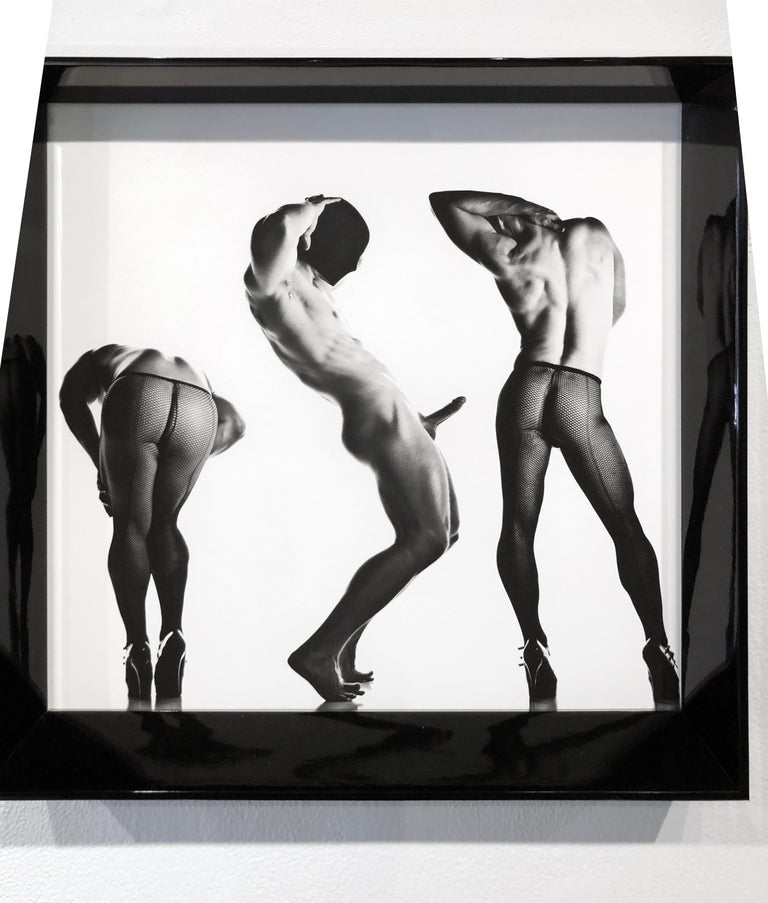 Sex 3 - Erotic Male Photo, Fishnet Stockings and High Heals, Matted and Framed For Sale 3