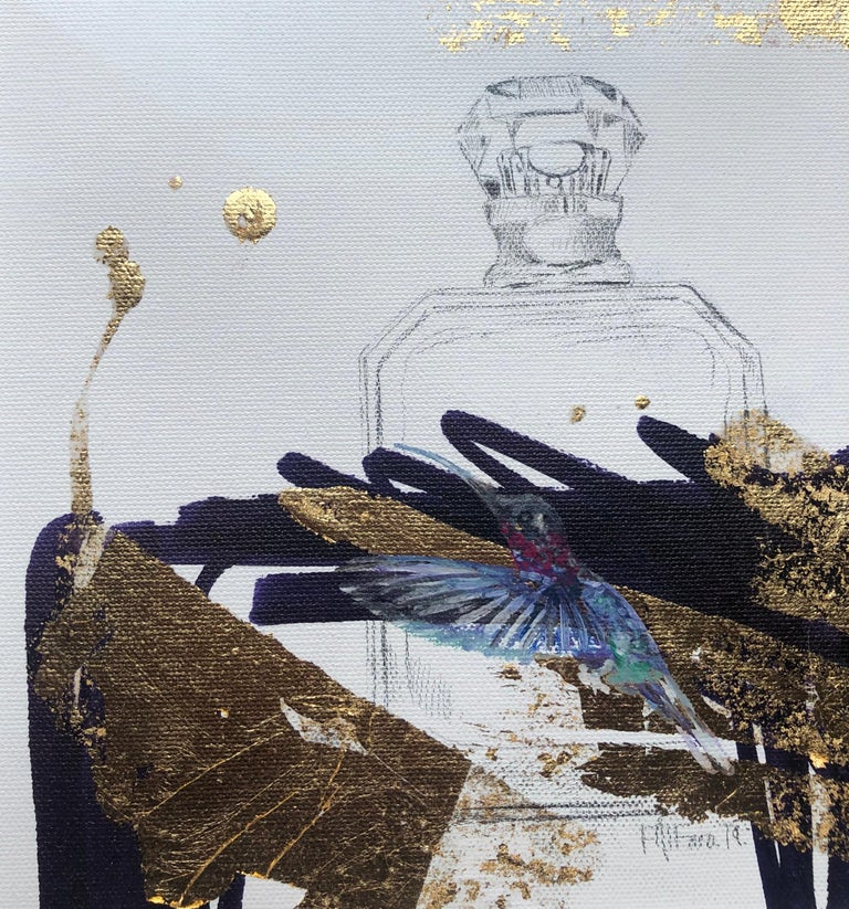 The Gift - Abstract Gold and Black Still Life,  Hummingbird and Perfume Bottle - Contemporary Painting by Felipe Alfaro