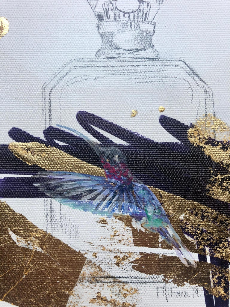 The Gift - Abstract Gold and Black Still Life,  Hummingbird and Perfume Bottle - Beige Still-Life Painting by Felipe Alfaro