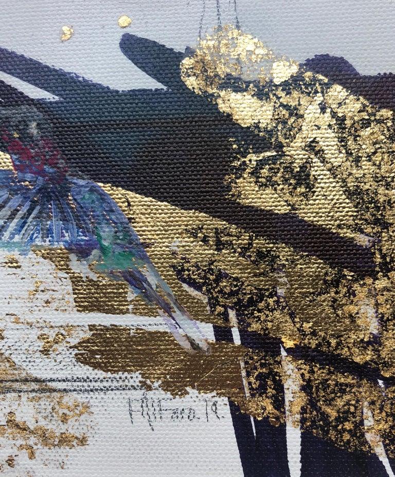 A humming bird flits around an empty perfume bottle in Felipe Alfaro's small painting entitled