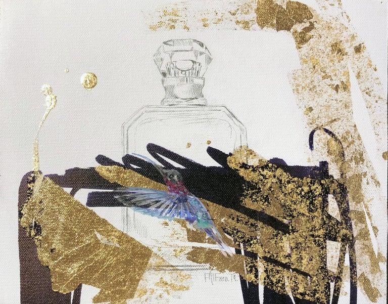 Felipe Alfaro Still-Life Painting - The Gift - Abstract Gold and Black Still Life,  Hummingbird and Perfume Bottle