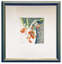 Christmas Palm, Botanical Drawing, Colored Pencil on Paper, Framed in Silver