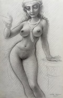 Lady of the Temple, Nude Female Figure, Highly Detailed Pencil Drawing, Framed