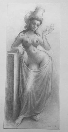 Maid of Agora - Nude Female Figure, Highly Detailed Pencil Drawing, Framed
