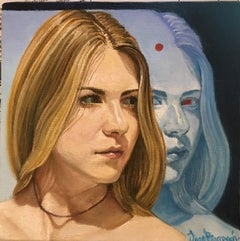 Study for Blue Face, Blond Female with Reflective Blue Face, Oil on Panel