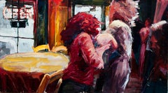 Terror Carrie - Cinema Inspired Oil Painting, Two Women Inside a Café