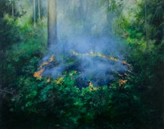 Controlled Burn 3 - Ring of Fire with Hazy Smoke in a Dense Forest, Oil on Panel